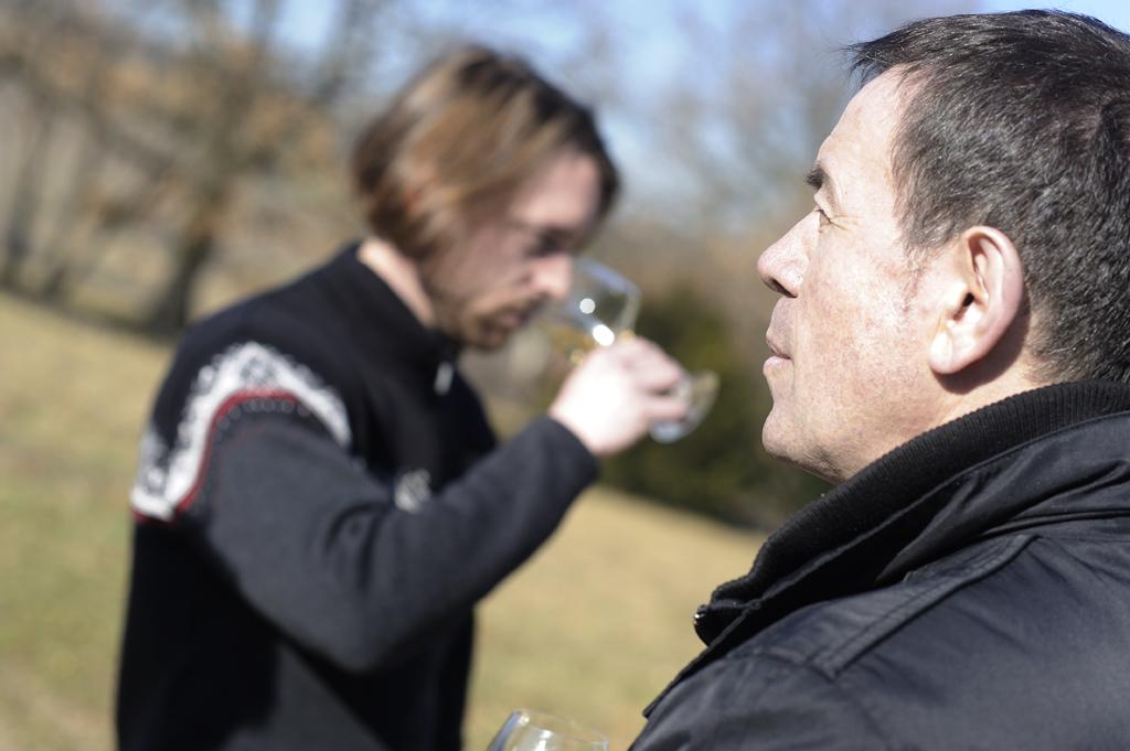 Dégustation chez Bernard Valette (Beaujolais) avec l'équipe  de la cave Vins Natures